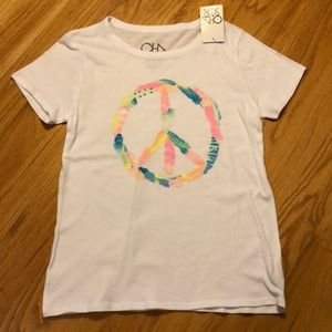 NWT chaser feather peace sign white tee size small